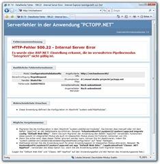 IIS 7.0 - Detaillierter Fehler - 500.22 - Internal Server Error - Internet Explorer bereitgestellt von Dell